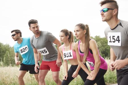 rival rivals rivalry season: Getting ready to start the marathon Stock Photo
