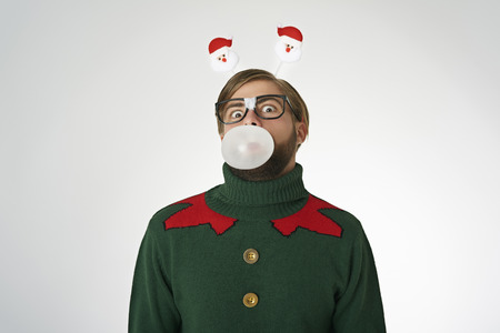 Funny man with big bubble