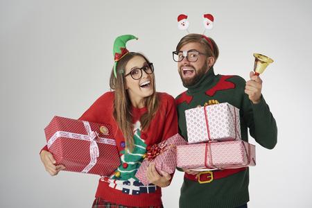 Abundance of Christmas presents and golden bell