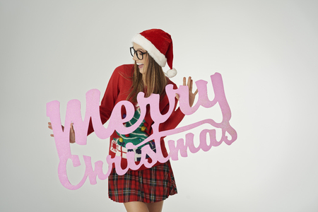 Christmas wishes from smiling woman