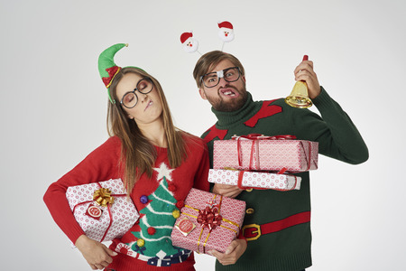 Bizarre couple with Christmas presents