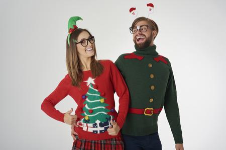 Christmas couple celebrating magic time Stock Photo
