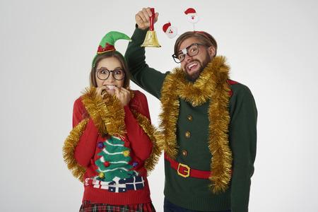 Nerd couple announces the Christmas Stock Photo