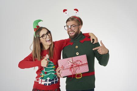 Couple in good mood in the studio Stock Photo