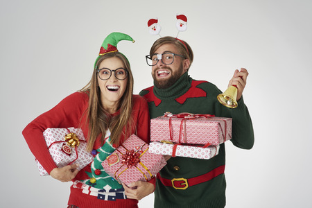 announcing: Couple announcing the Christmas time