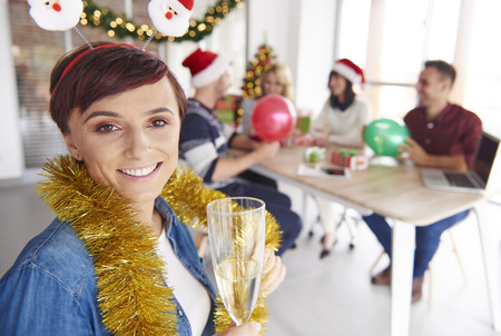 office party: Woman would like to make a toast for workers