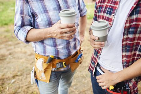 has been: Coffee has been taken by carpenters