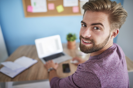home office: Man working in home office