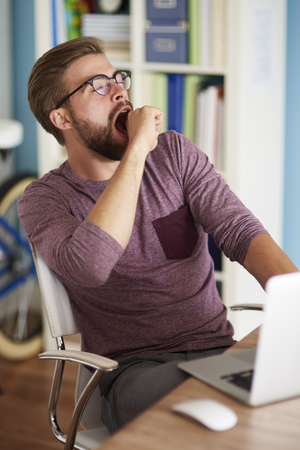 tiredness: Man yawning after exhausting day Stock Photo