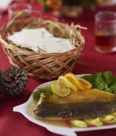 christmas table: Carp and wafer on Christmas table