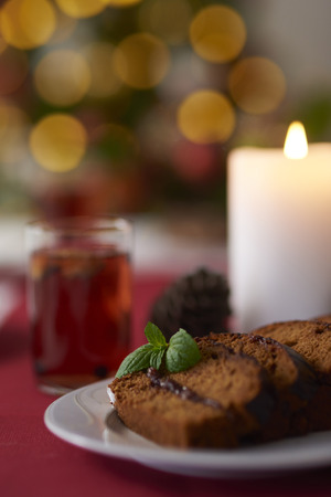 compote: Slices of ginger bread and glass of compote