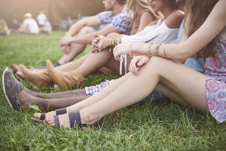 Summertime vibes at music festival Stock Photo
