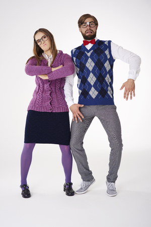 quite: Couple posing in quite weird way Stock Photo