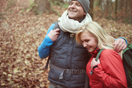 Spending great time together while hiking Stock Photo