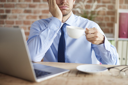 sip: Sip of coffee on tiring day Stock Photo