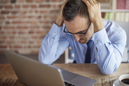 powerless: Failure of young business person Stock Photo