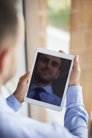 busy person: Digital tablet used in the company