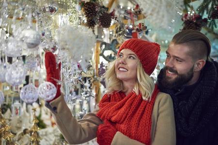 christmas market: Beautiful christmas ornaments at the christmas market