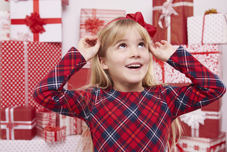 hair band: Girl with beautiful red bow Stock Photo