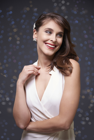 White dress and elegant woman