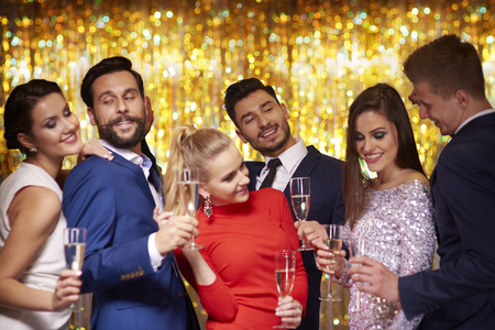 formal party: Good friends dressed in elegant clothes Stock Photo