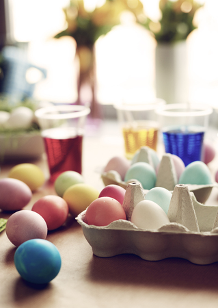 Dyeing eggs brings you back to the childhood Stock Photo