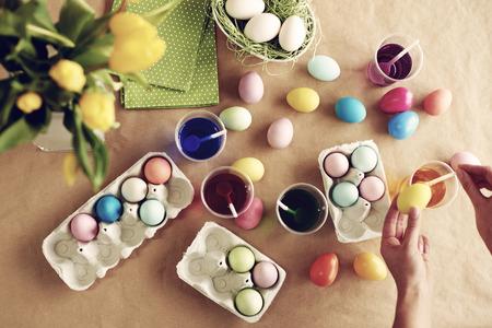 Homemade modern dyeing Easter eggs Stock Photo