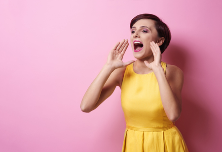 Woman showing her bad emotions Stock Photo