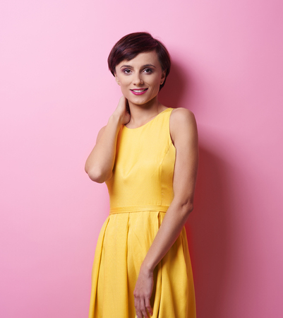 Portrait of woman with short brown hair Stock Photo