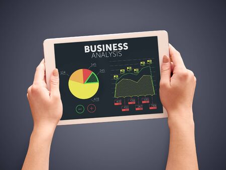 Business analysis on digital tablet