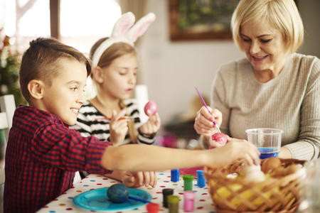 skill: Easter egg painting and decorating Stock Photo