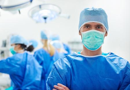 Portret van een chirurg in de operatiekamer Stockfoto