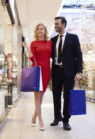 Full length of couple in the shopping mall