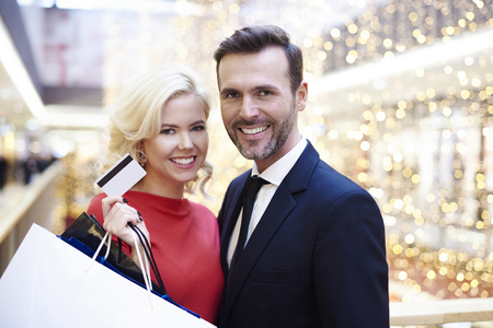 Portrait of pretty couple in the shopping mall Stock Photo