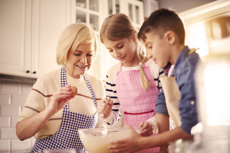 Baking a cake with grandmother