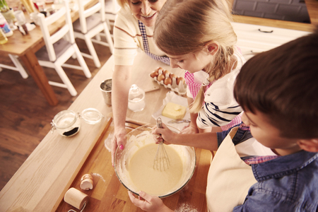 Directly above shot of making dough Фото со стока
