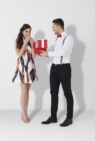 disbelief: Studio shot of loving young couple