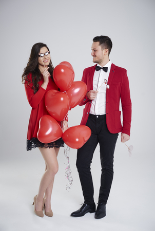 formal dressing: Young couple having so much fun