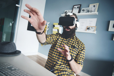 simulator: Fun with virtual reality simulator Stock Photo