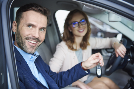 close up: The car dealership offers great bargain Stock Photo