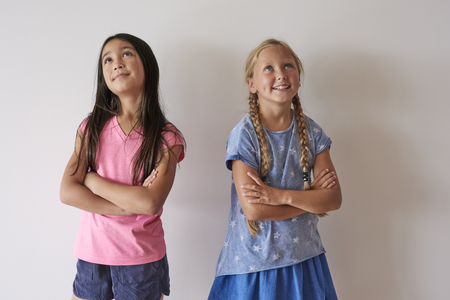 multi cultural: Little girls with arms crossed