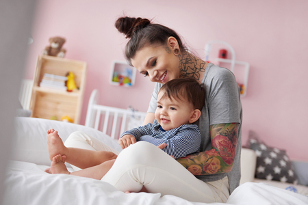 Young mother with adorable son Stock Photo