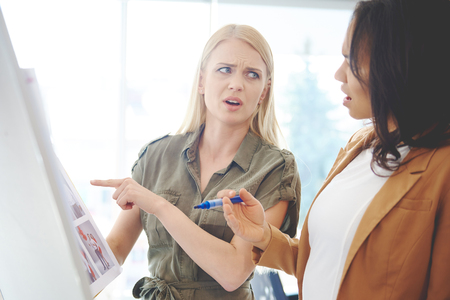 Business women struggling with failure Stock Photo