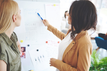 Business woman discussing project with colleague