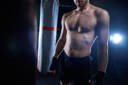 Low section of professional boxer on the gym