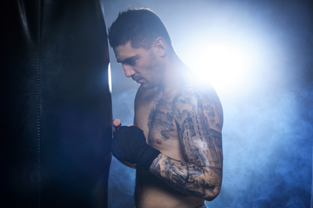Side view of male boxer silhouette