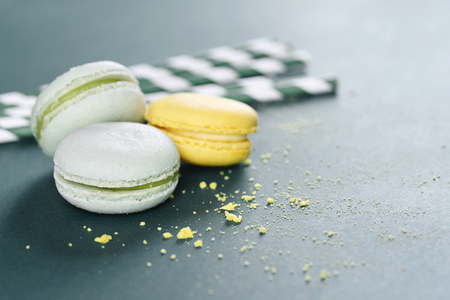 Top view of biscuits against green background