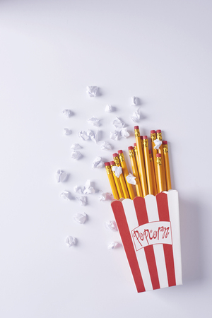 Imitation of French fries and popcorn Stock Photo