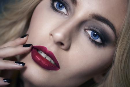 Close up of beautiful blond woman Stock Photo