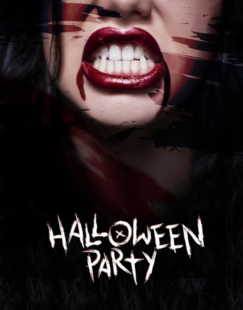 Scary poster with creepy face Stock Photo - 79809439